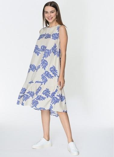 Loves You Yaprak Desenli Eteği Fırfırlı Kolsuz Viskon Elbise İndigo